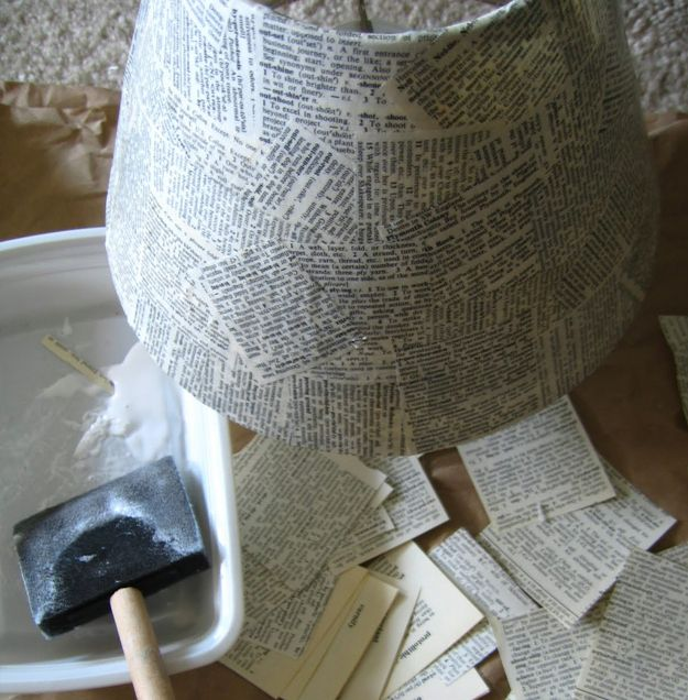 A bookish lampshade is perfect for a cozy bedroom