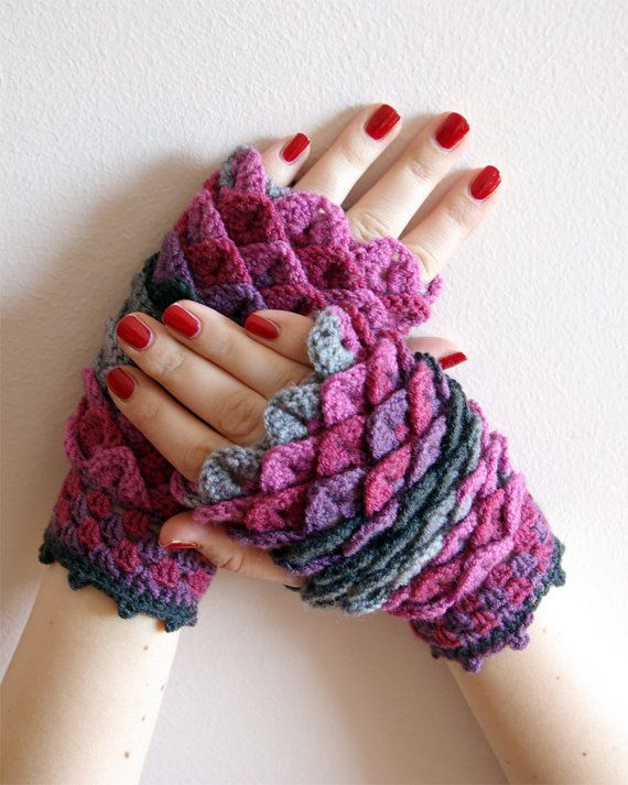 Crocheted crocodile stitch mittens fingerless gloves ...