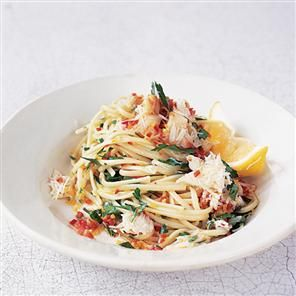 Crab linguine with chilli, lemon, garlic and parsley