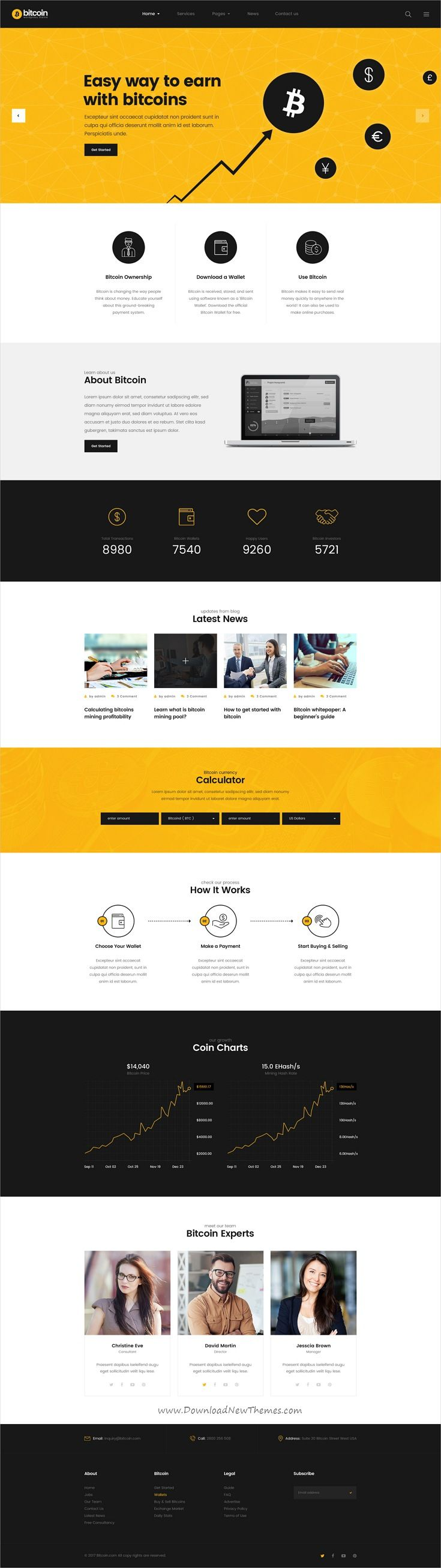 Bitcoin is clean and modern design #PSD template for #cryptocurrency, digital currencies and #bitcoin #mining equipment website to live preview & download click on Visit 👆