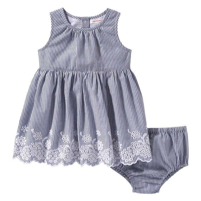 Ensemble robe à rayures milleraies pour bébés filles in Bleu de Joe Fresh