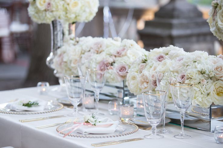 Graydon Hall Manor wedding reception decor in soft ivory and pale pink