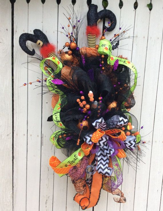 Crashing Witch wreathHalloween witch Wreathwitch by Keleas on Etsy