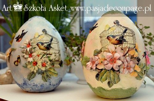 Easter egg decoupage and 3d and sospeso