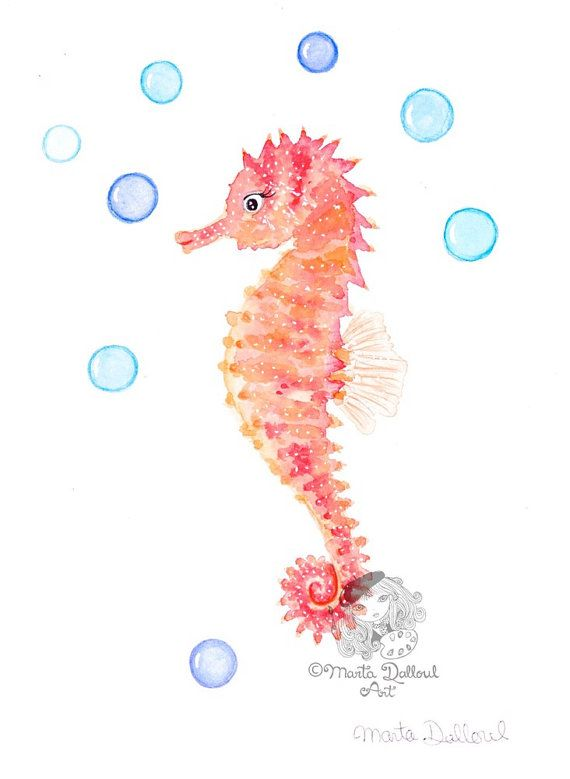 Seahorse art print. Seahorse wall decor painting. by MartaDalloul