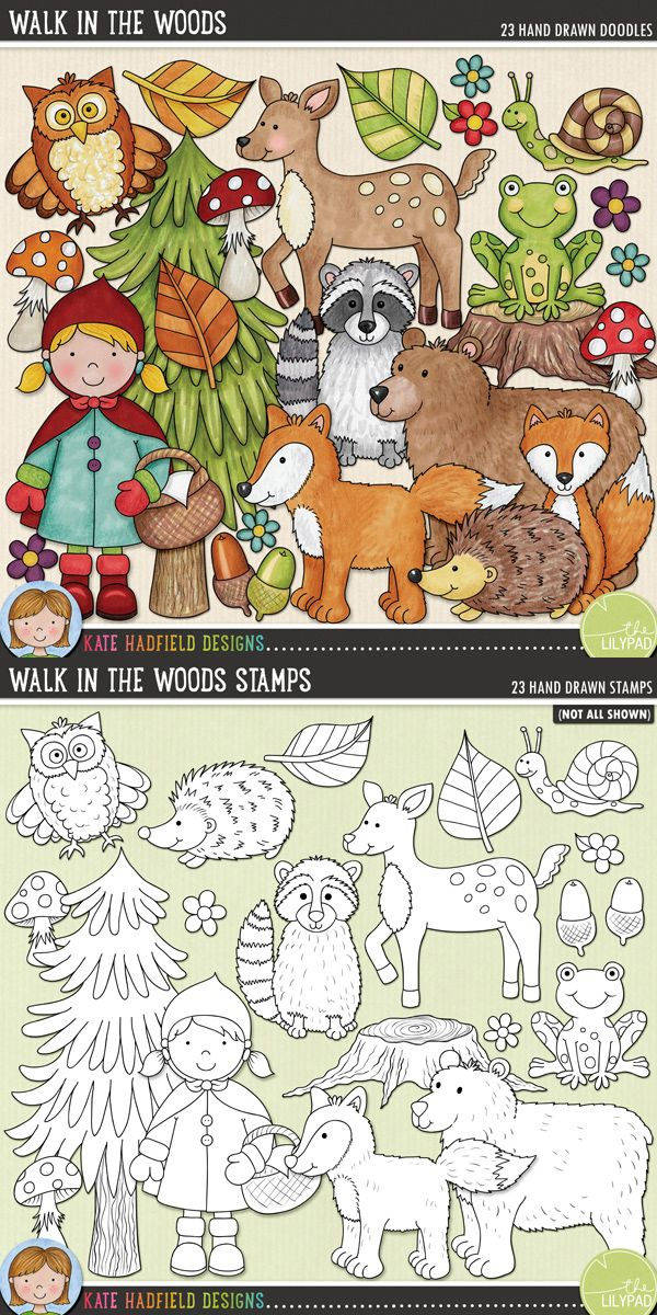 Woodland animals digital scrapbooking elements | Cute forest creatures clip art | Hand-drawn doodles for digital scrapbooking, crafting and teaching resources from Kate Hadfield Designs!