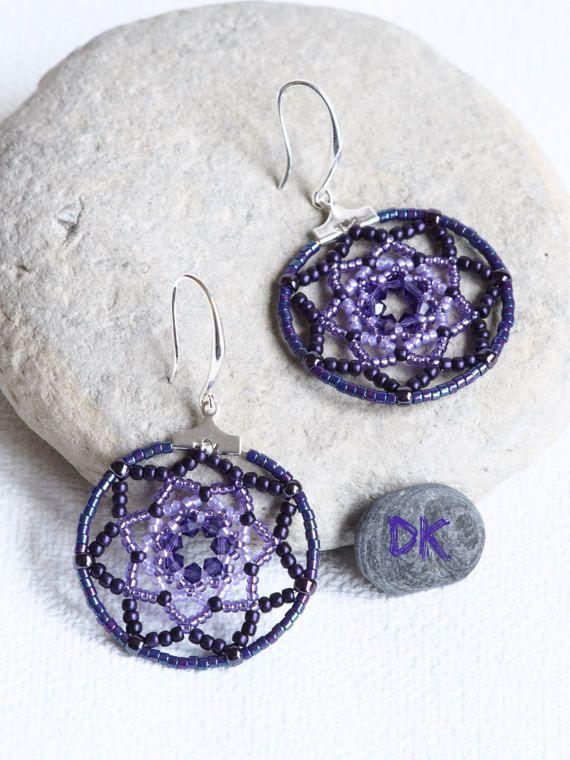 boucles doreilles créoles bijou violet boucles par DKreationKitti