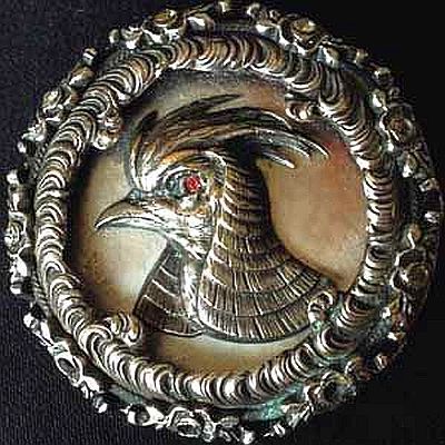 Intricate Metal Bird Button