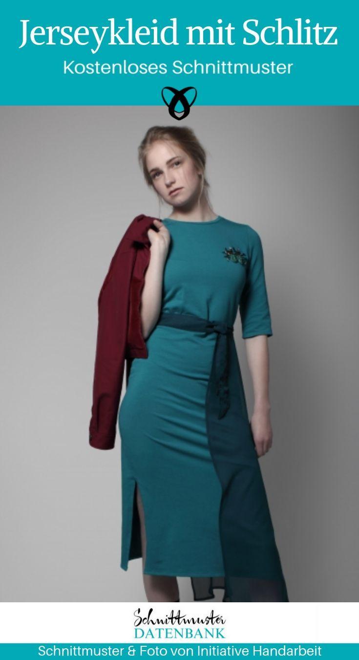 jerseykleid mit schlitz   kleidung, kleider, elegante jacken
