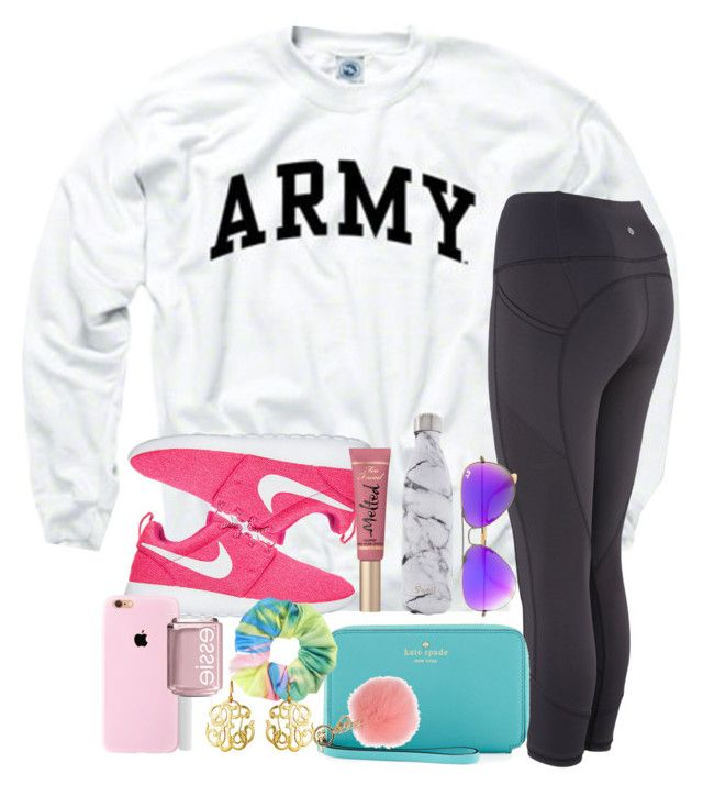 """sundays are for outfits like this"" by thefashionbyem ❤ liked on Polyvore featuring Kate Spade, Ray-Ban, S'well, Too Faced Cosmetics, MICHAEL Michael Kors, Topshop, Susan Shaw and Essie"