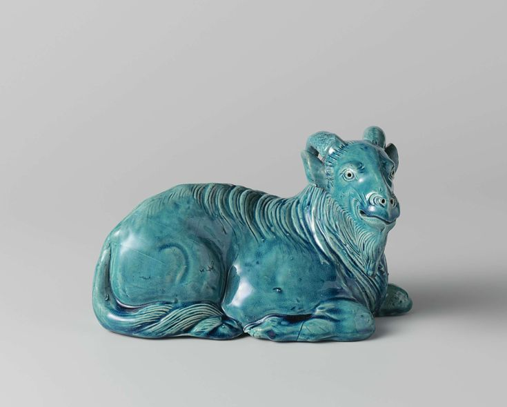 Anonymous | Pair of rams, Anonymous, c. 1800 - c. 1900 | Sculptuur, bok, turquoise biscuit. Deel van een paar.