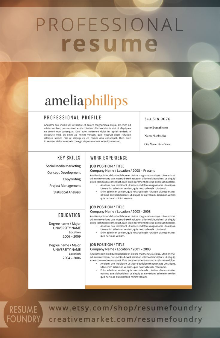Modern and professional resume template Use with