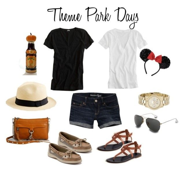 """Spring Break Theme Park Days Outfits"" by leopard-spot ❤ liked on Polyvore featuring Rebecca Minkoff, American Eagle Outfitters, J.Crew, MICHAEL Michael Kors, Sperry, Ray-Ban, florida, hot, travel and disney"