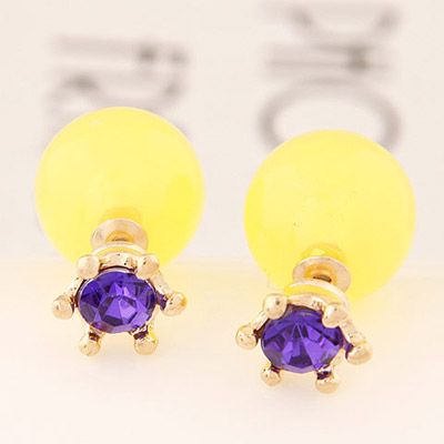 Double Pearl Earring purple with yellow! https://www.facebook.com/pages/Collares-y-Accesorios-Dazzling-Doll/865787360105631?ref=hl