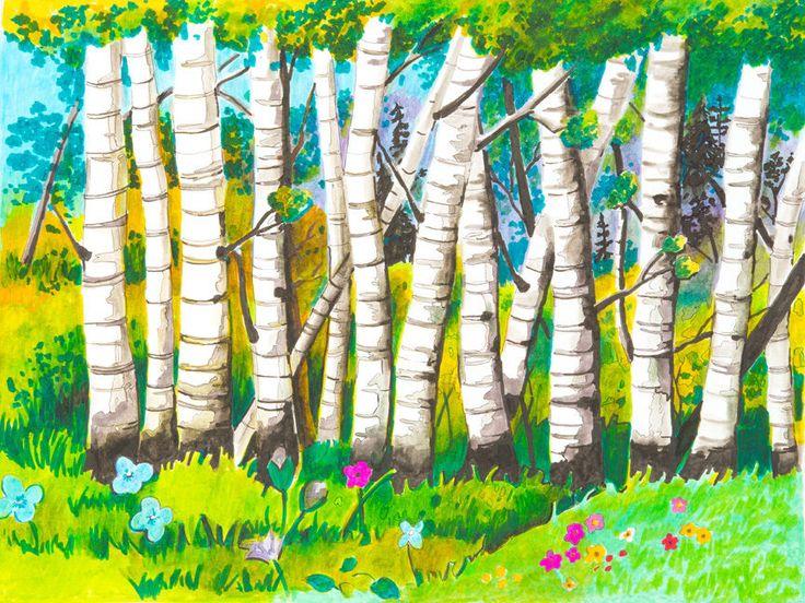 CANVAS Group of Birch Trees Painting Art Gallery Wrap by Elizabeth Stacke #ArtDecor #buyartforless