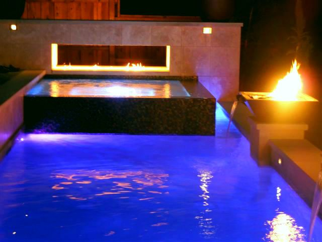 17 best images about fire features wired by dallas for Pool fire bowls