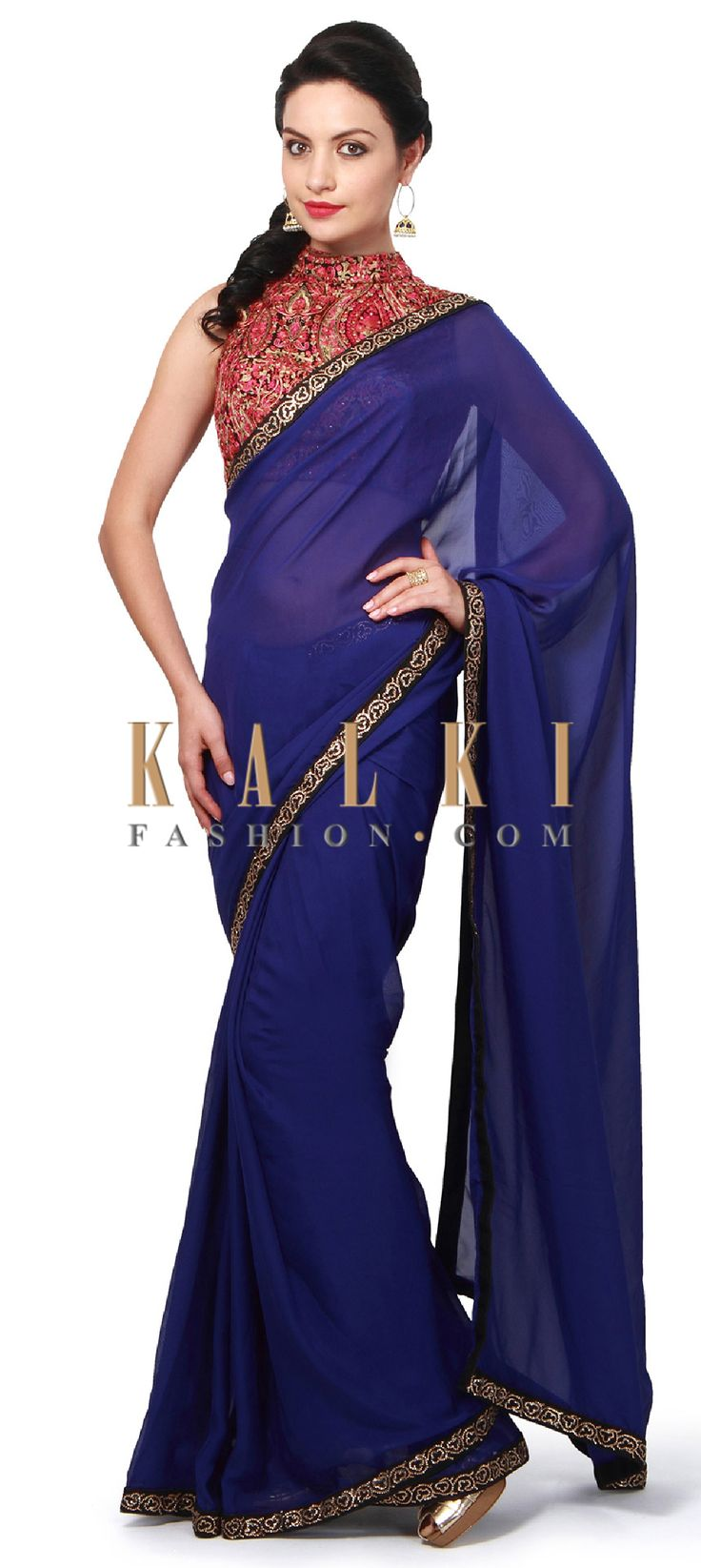 Buy Online from the link below. We ship worldwide (Free Shipping over US$100). Product SKU - 306340.Product Link - http://www.kalkifashion.com/royal-blue-saree-features-with-embellished-blouse-only-on-kalki.html