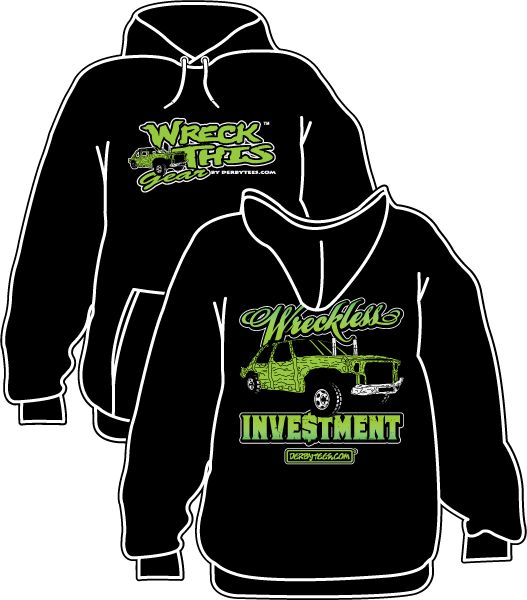Wreckless Investment demolition derby hoodie from Derbytees.com