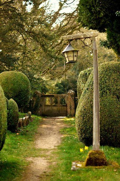A Beautiful Spring Garden Path Gorgeous Lamp/lamp Post U0026 Gate