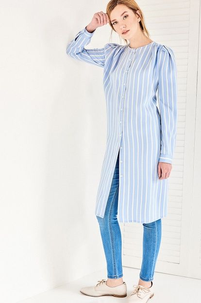 Mavi Çizgili Kol Detaylı Tunik