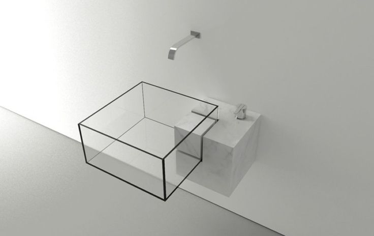 The Stunning Bathroom Sink with Cube Shape Designed By Viktor Vasilev : Nice Transparent Washbasin With Metal Faucet And White Wall