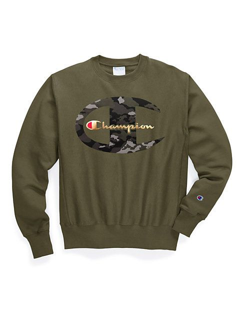 4abd6b82e Exclusive Champion Life® Men's Reverse Weave® Crew, Camo + Metallic Logo
