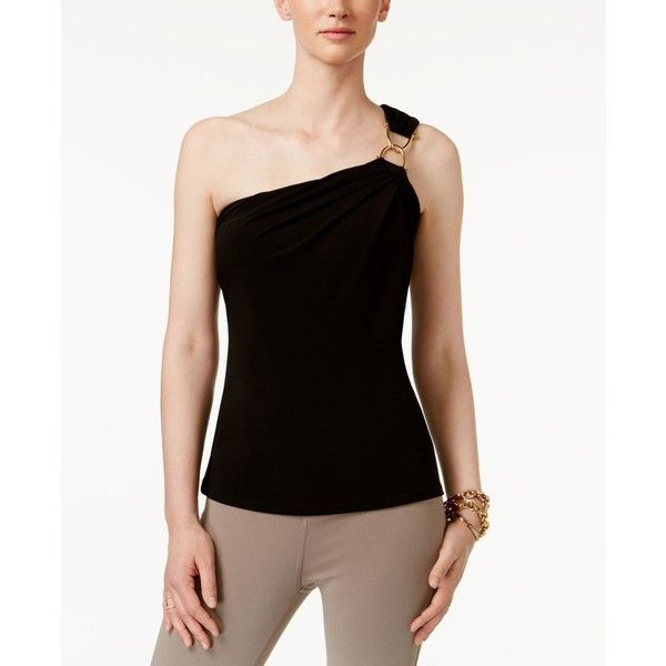 Michael Michael Kors One-Shoulder Top (800 MXN) ❤ liked on Polyvore featuring tops, black, michael kors tops, off one shoulder tops, one shoulder tops, michael kors and one sleeve top