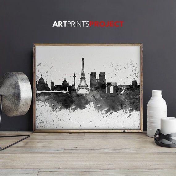 Paris art print poster Paris watercolor  Paris by ArtPrintsProject