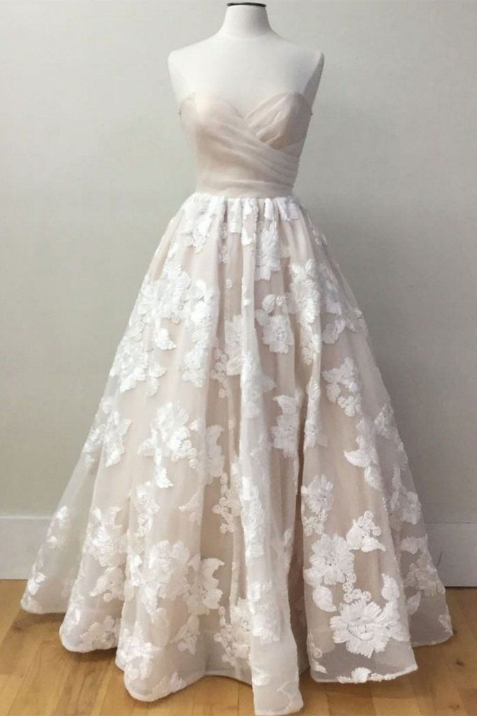 champagne sweetheart lace tulle long prom dress, evening