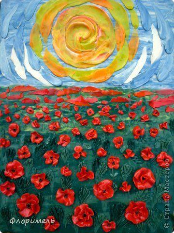 Эти обратные аппликации выполнены по рисункам Линды Клявиной, которые попались мне в Яндексе при запросе «шаблоны маков для батика». Так мне понравились эти цветы, что я решила их «раскрасить» пластилином. фото 5