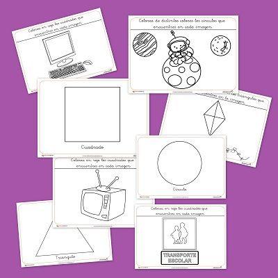 Recursos educativos: Figuras geométricas para colorear Os dejamos estas fichas creadas para repasar las figuras geométricas básicas y colorearlas con dibujos de objetos relacionados con estas figur...