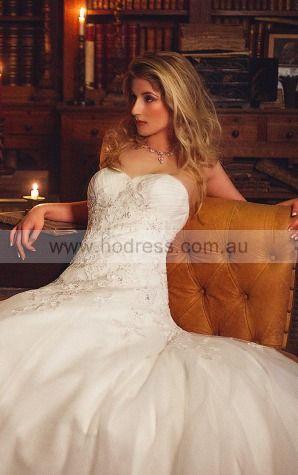 Sleeveless Buttons Tulle Sweetheart Princess Wedding Dresses ggcf1001--Hodress