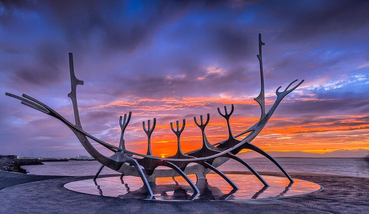 The Sun Voyager (Icelandic: Sólfar) is a sculpture by Jón Gunnar Árnason (1931 - 1989). Sun Voyager is a dreamboat, an ode to the sun. Intrinsically, it contains within itself the promise of undiscovered territory, a dream of hope, progress and freedom.