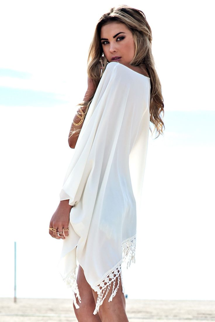 White dress chiffon - Summer Dress White Beach Long Sleeve Chiffon