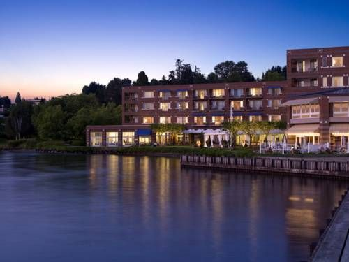 Woodmark Hotel & Still Spa (1200 Carillon Point) This hotel and spa is located on the shores of Lake Washington in Kirkland, Washington. It features a private beach area and honorary membership to the Woodmark Yacht Club. #bestworldhotels #hotel #hotels #travel #us #washington