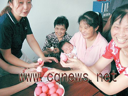 In Chinese culture, a baby's first month birthday calls for a celebration.Traditionally, the baby's name is also announced at this time.  The parents hand out red-dyed eggs, symbolizing happiness and the renewal of life.