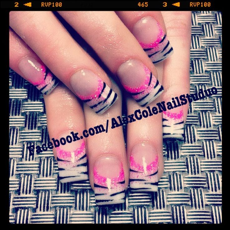 Pink, White, n' Black Zebra Acrylic Nail Art
