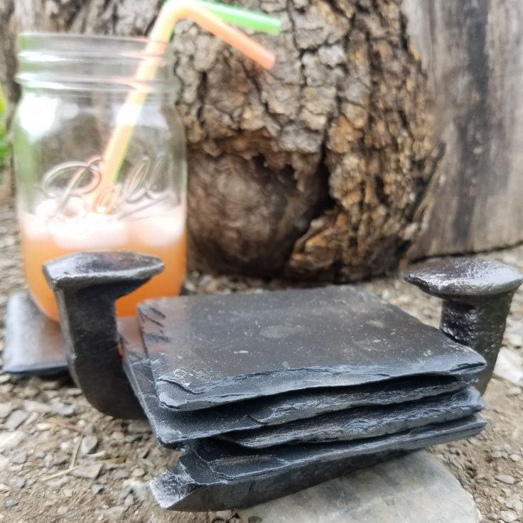 Our new railroad spike coaster holder with slate coasters!😍😍😍
