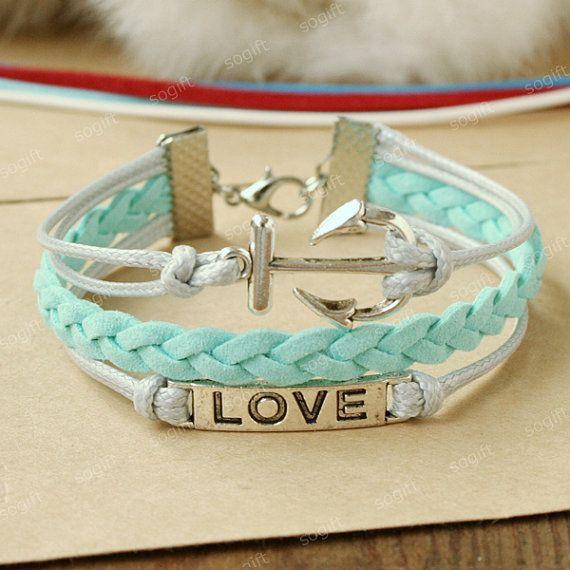 Anchor Bracelet -love symbol bracelet.sky blue bracelet gift for every girl