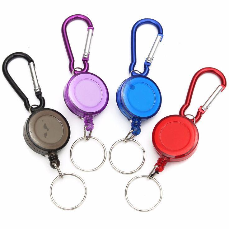 1 unids multiuso Multicolor Insignia Esparcidor Recoil Mosquetón Retráctil Carrete de La Correa Llavero herramientas al aire libre