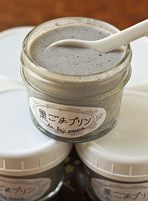 Kuro goma purin (黒ごまプリン), black sesame pudding - make this vegetarian by replacing the gelatine with agar agar or something similar. Could maybe try replacing the cream with soy cream?