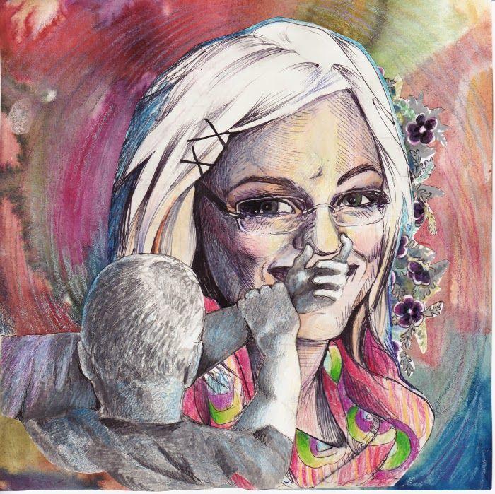 By: Satu Laaninen  Herkkupurkki: kollaasi, pikkukimalainen.blogspot.com  drawing, portrait, humor, self-portrait