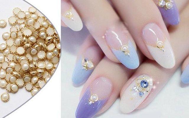 3D Nail Art Gold Metal pearl White Alloy Rhinestone Studs