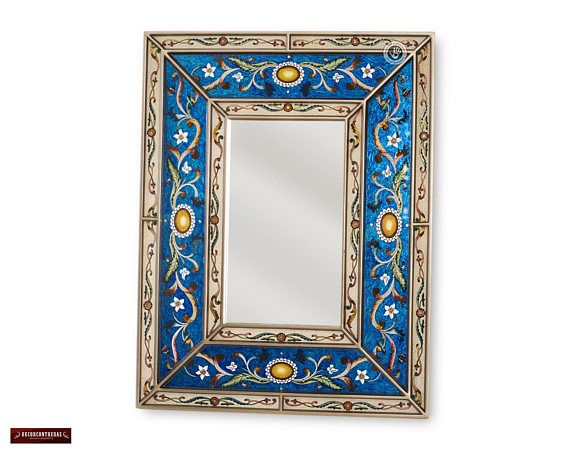 Peruvian Blue Decorative Mirror Arts Crafts Mirror Wall Vanity Mirror Hand Painted Glass Wood Rectangular Wall Mirror Wall Mirrors Mirror Art Mirror Decor Mirror Painting