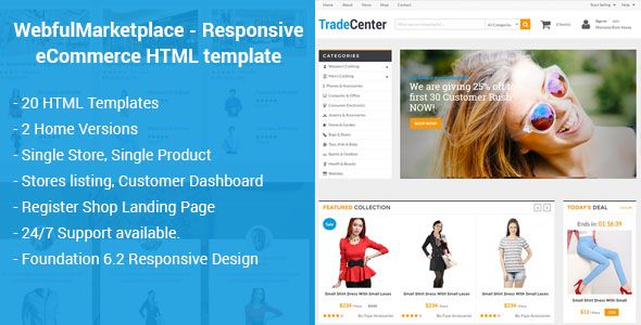 Marketplace Responsive Ecommerce Html Template Ecommerce Template Html Templates Website Template