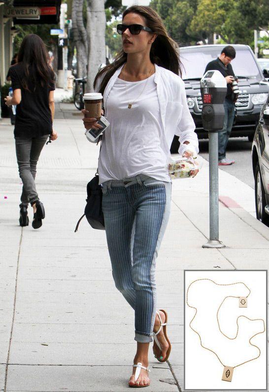 Jennifer Zeuner Santorini Hamsa/Eye Necklace as seen on Alessandra Ambrosio $297