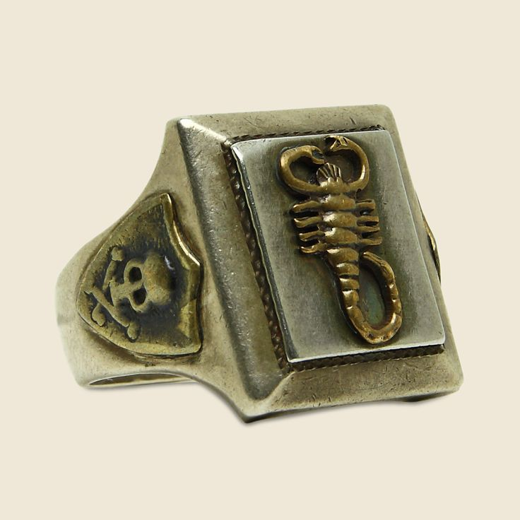 Scorpion Mexican Biker Ring - Brass/Silver