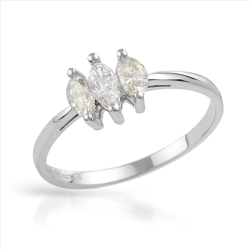 $319.00  Vibrant Brand New Three-stone Ring With 0.65ctw Precious Stones - Genuine Marquise Cut  Clean Diamonds  14K White Gold- Size 7 - Certificate Available.