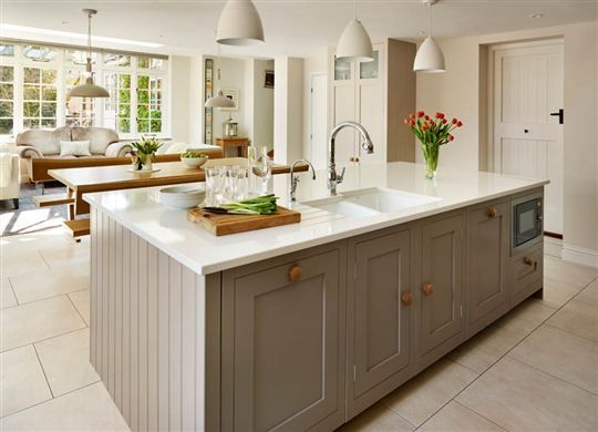 Family Oak And Painted Shaker Kitchen from Harvey Jones