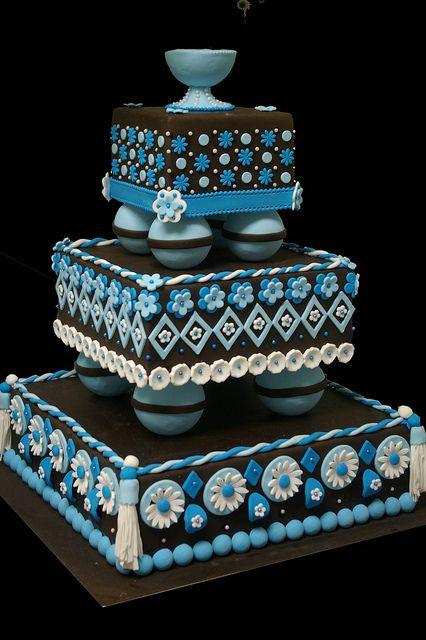 wedding cake blue ,mariage turquoise et brun2 by Patisserie des Roy, via Flickr